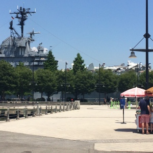Intrepid Navy Ship in background with planes.